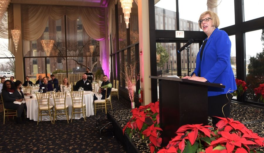 Mount Prospect Mayor Arlene Juracek delivers her annual State of the Village address on Thursday at Victoria in the Park in Mount Prospect.