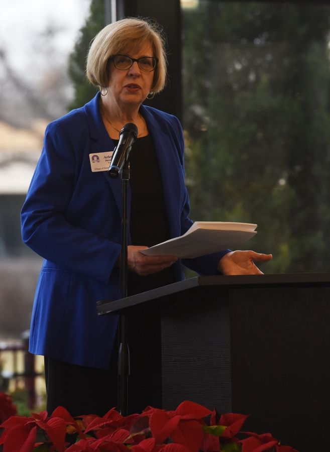 Mount Prospect Mayor Arlene Juracek delivers her annual State of the Village address Thursday at Victoria in the Park in Mount Prospect.