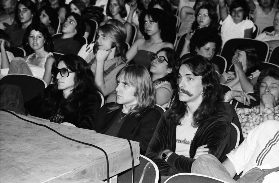 In June 1977, Neil Peart and Rush visited Hersey High School in Arlington Heights. They did not perform, but answered questions from the Hersey students after watching a slide show, according to a 1977 issue of Circus. From left in the front row are singer/bassist Geddy Lee, guitarist Alex Lifeson and Peart.
