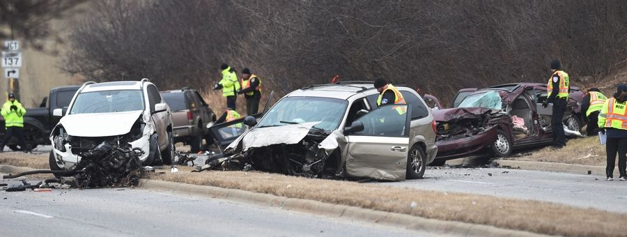Police investigate the scene of a six-car crash Thursday morning on Route 45 just south of the underpass with the Metra tracks and Route 137 in Libertyville.