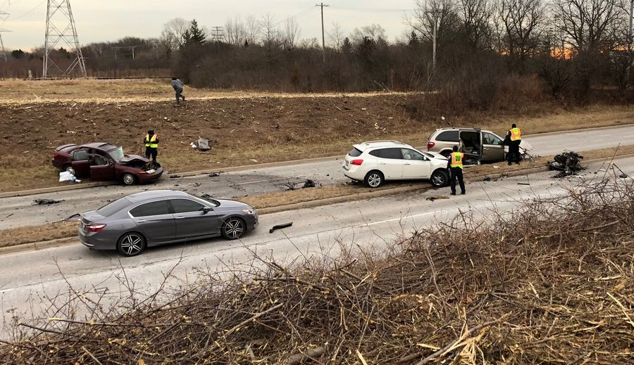 "Three people were hurt Thursday in a six-car crash on Route 45 just south of the underpass with the Metra tracks and Route 137 in Libertyville. ""It was in the top 5 worst (accident scenes) I've seen in 22 years,"" Lake County Sheriff's Deputy Brad Meister said."