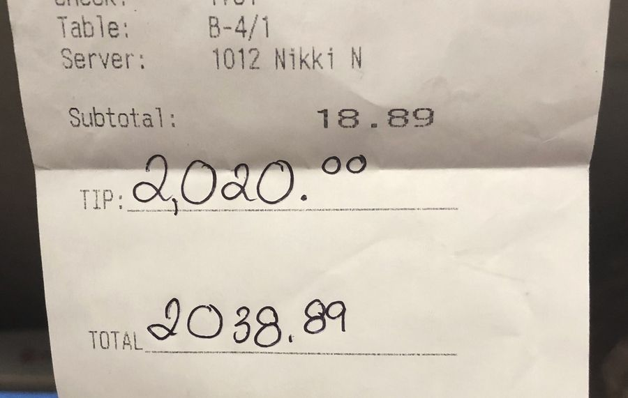 An anonymous donor left a $2,020 tip on her $18.89 breakfast bill Monday morning at Jelly Cafe in Mount Prospect.