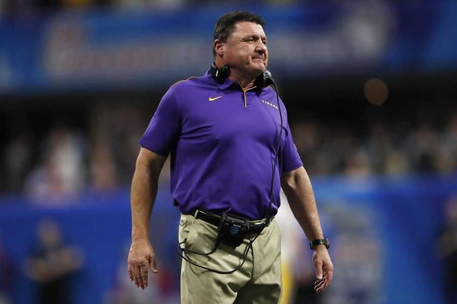 LSU coach Ed Orgeron, whose Tigers won the Peach Bowl over Oklahoma in Atlanta, should have a tougher road to travel in the national title game Monday.