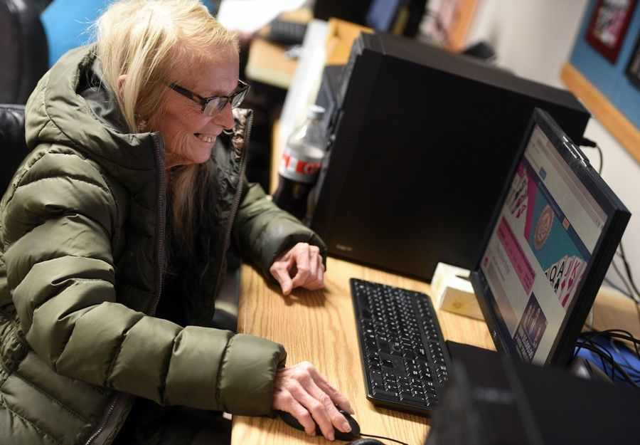 While many students at Donka are working on skills to find jobs, former special education teacher and paralegal Deborah Emerson Masters says her favorite thing to do on the computer is play the card game bridge online.