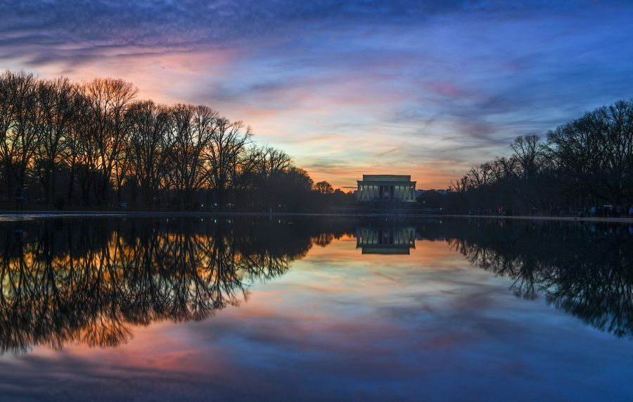 The reflecting pool and the Lincoln Memorial at sunset last last month.