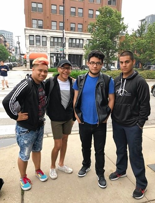 Miguel Villalon, far right, with friends, from left, Marlo Guzon, Rodrigo Hull and Gerardo Franco. Villalon was killed Saturday while serving in the U.S. Army in Afghanistan.