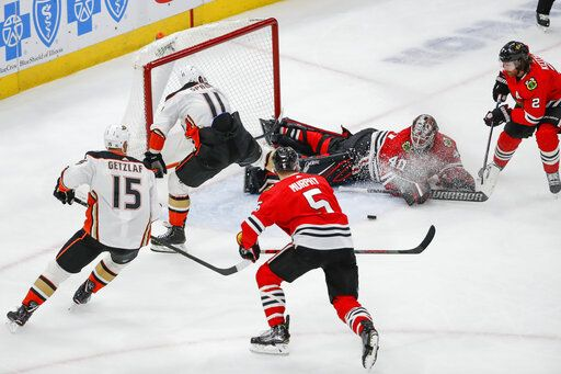 Chicago Blackhawks goaltender Robin Lehner (40) defends against Anaheim Ducks right wing Daniel Sprong (11) during the second period of an NHL hockey game Saturday, Jan. 11, 2020, in Chicago.