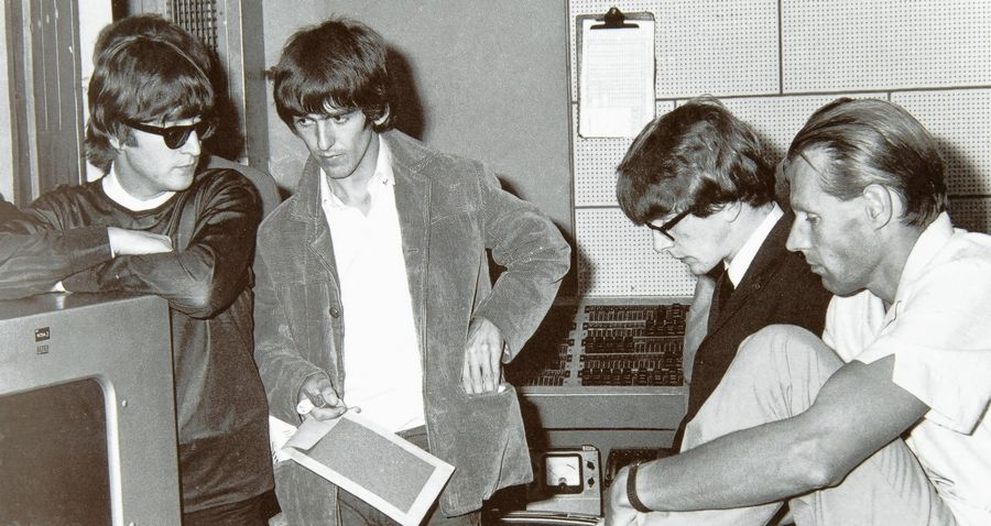 "John Lennon, George Harrison, Peter Asher and George Martin in Studio Two at EMI Studios. Asher is coming to Naperville Wednesday night to talk about his new book, ""The Beatles From A to Zed: An Alphabetical Mystery Tour."""