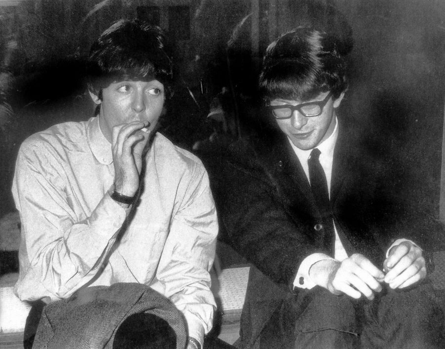 Paul McCartney and Peter Asher around the time the Beatles were planning to create Apple Records.