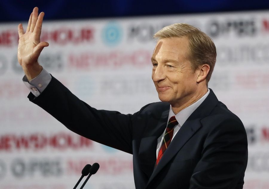 Democratic presidential candidate businessman Tom Steyer waves before a Democratic presidential primary debate Thursday, Dec. 19, 2019, in Los Angeles, Calif.