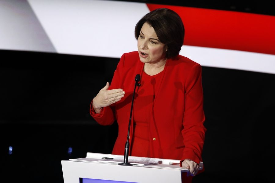 Democratic presidential candidate Sen. Amy Klobuchar, D-Minn., answers a question Tuesday, Jan. 14, 2020, during a Democratic presidential primary debate hosted by CNN and the Des Moines Register in Des Moines, Iowa.