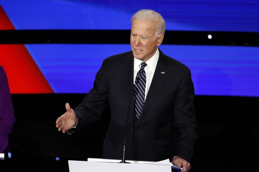 Democratic presidential candidate former Vice President Joe Biden speaks Tuesday, Jan. 14, 2020, during a Democratic presidential primary debate hosted by CNN and the Des Moines Register in Des Moines, Iowa.