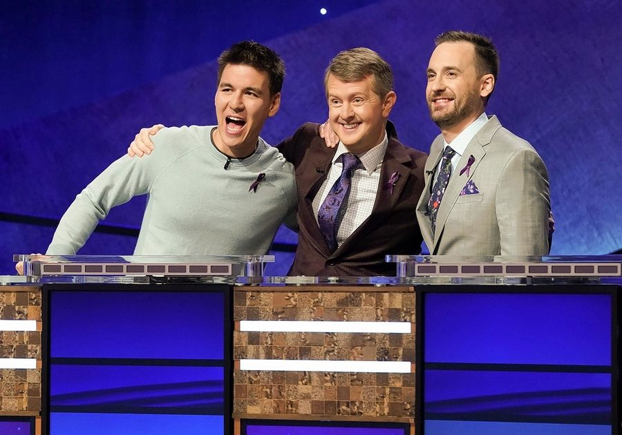 """Jeopardy! The Greatest of All Time"" concluded after Tuesday's episode with Ken Jennings, center, claiming the title and $1 million prize. Naperville native James Holzhauer, left, and Brad Rutter each won $250,000."