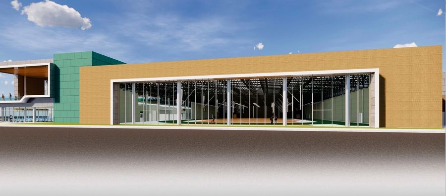 This architectural rendering of a massive expansion of the field house and the East Building at Stevenson High School shows the view looking south.