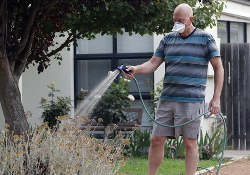 FILE - In this Jan. 2, 2020, file photo, a man waters his garden while wearing a mask as smoke shrouds the Australian capital of Canberra, Australia. It's an unprecedented dilemma for Australians accustomed to blue skies and sunny days that has raised fears for the long-term health consequences if prolonged exposure to choking smoke becomes the new summer norm.