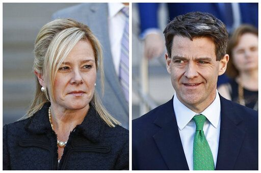 FILE - This combination of March 29, 2017 file photos shows Bridget Kelly, left, and Bill Baroni leaving federal court after sentencing in Newark, N.J. The U.S. Supreme Court will hear arguments Tuesday on whether to throw out the convictions of the two former aides to former Republican Gov. Chris Christie in New Jersey's 'Bridgegate' case. Baroni and Kelly have argued their actions may have unethical but weren't criminal. The court's decision, expected this spring, could have a far-reaching impact on how public corruption investigations are handled.