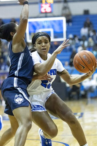 Memphis guard Jamirah Shutes, right, drives defended by Connecticut guard Christyn Williams, left, in the first half of an NCAA college basketball game Tuesday, Jan. 14, 2020, in Memphis, Tenn.