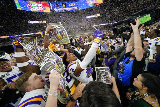 LSU celebrates after their win against Clemson in a NCAA College Football Playoff national championship game Monday, Jan. 13, 2020, in New Orleans.