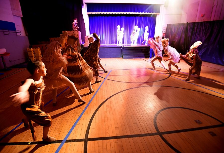 "Performers dance as they make their way to the stage Wednesday during a rehearsal of ""The Lion King Jr."" by Carl Sandburg Middle School students in Mundelein at the Lincoln Early Learning Center."