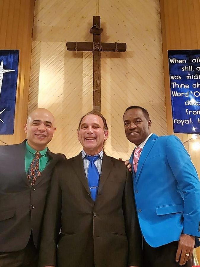 "Grace Lutheran Church in Streamwood hosts two other congregations. From left are the Rev. Alberto Galvan of Iglesia Del Pacto Evangelico Jerusalen; the Rev. Paul Cutler, pastor of Grace Lutheran; and the Rev. Auldon Lightbourne of Mercy Community Church. ""There's one true Church, and we're all in this together,"" Cutler says."