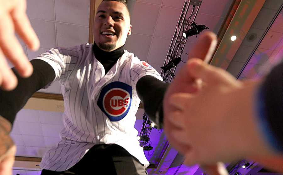 Javier Baez greets fans on opening night of the 2020 Chicago Cubs Convention Friday at Sheraton Grand in Chicago.