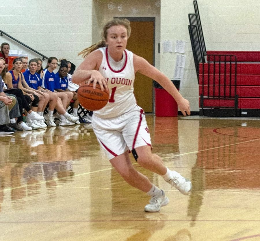Abbi Mocaby dribbles up court for the Lady Indians.