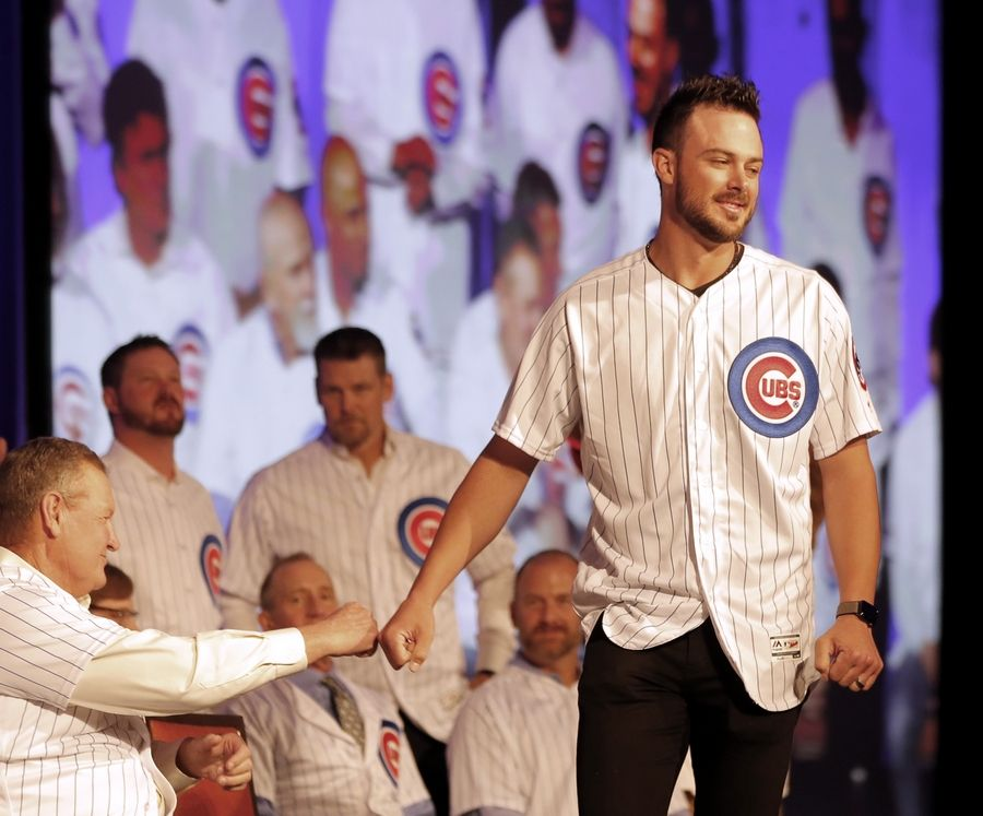 Patrick Kunzer/pkunzer@dailyherald.comKris Bryant came out for introductions Friday but not anywhere else Friday for the Cubs Convention. The star third baseman didn't get traded. He went to his room at the Chicago Grand Sheraton with the flu.