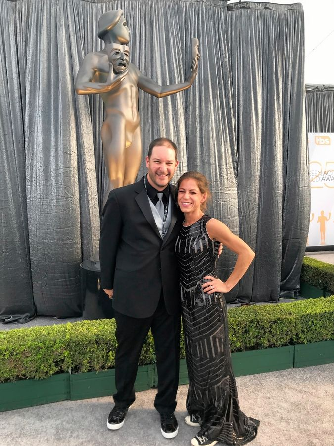 SAG Awards production manager Adam Cohen, who grew up in Buffalo Grove and Wheeling, poses with his wife, Rachel Heller Cohen, before a past awards ceremony.