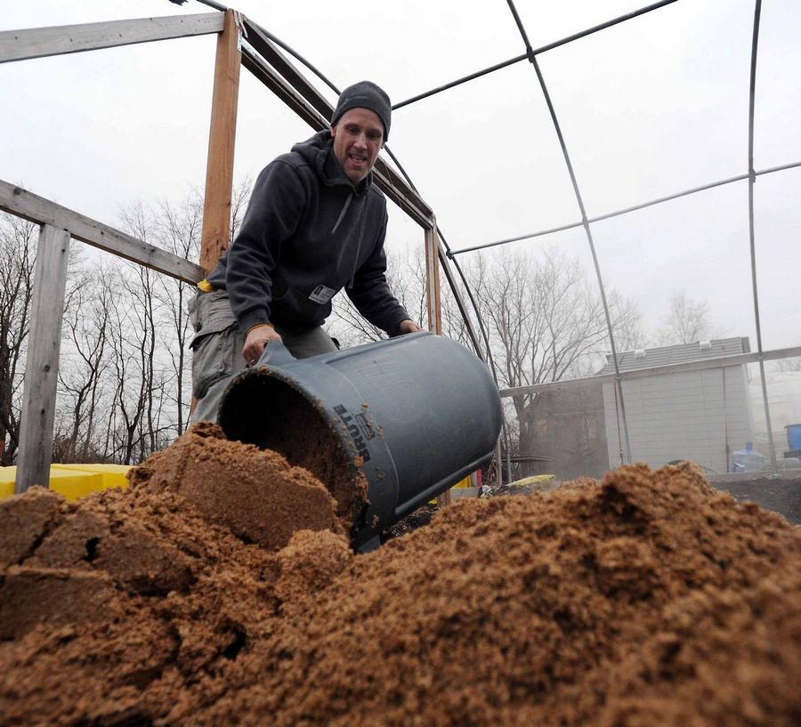 Vytas Pabedinskas of Growing Healthy Veterans dumps a container of donated malt to be used as a soil additive at the organization's hoophouse near American Legion Post 771 in Gurnee.