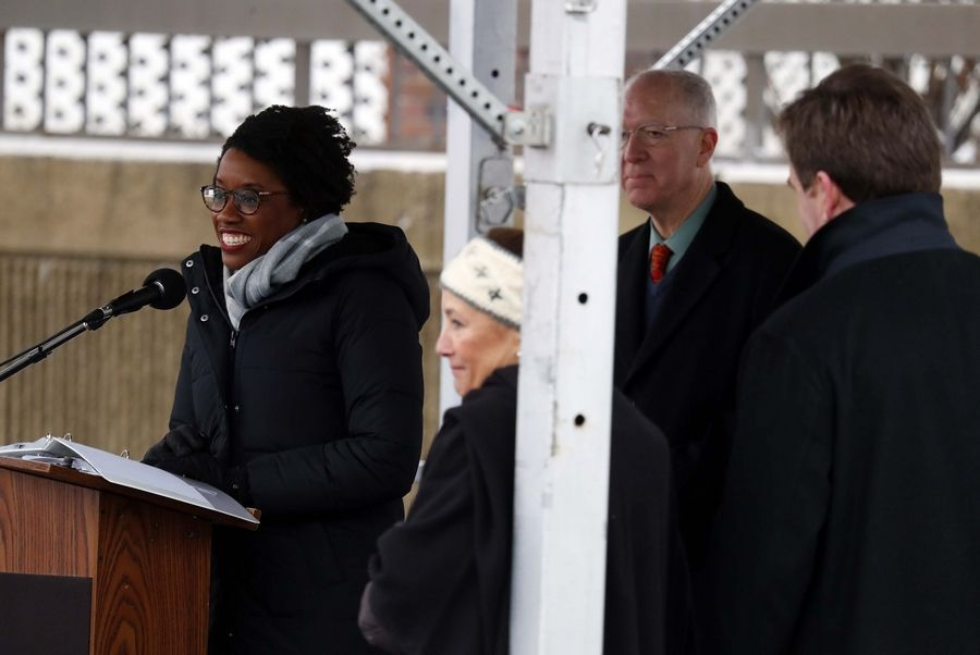 U.S. Rep. Lauren Underwood of the 14th Congressional District was among several political speakers Saturday during the Fox Valley's Women's March.