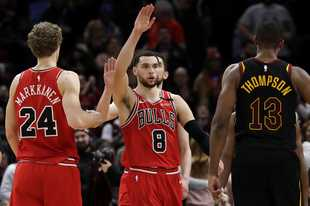 Zach LaVine (8) scored 21 of his 42 points to lead the Bulls to a comeback victory over Cleveland on Friday at the United Center.