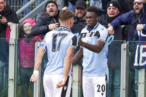 Lazio's Felipe Caicedo, right, celebrates with his teammate Ciro Immobile after he scored his side's first goal during a Serie A soccer match between Lazio and Sampdoria, at Rome's Olympic Stadium, Saturday, Jan. 18, 2020.