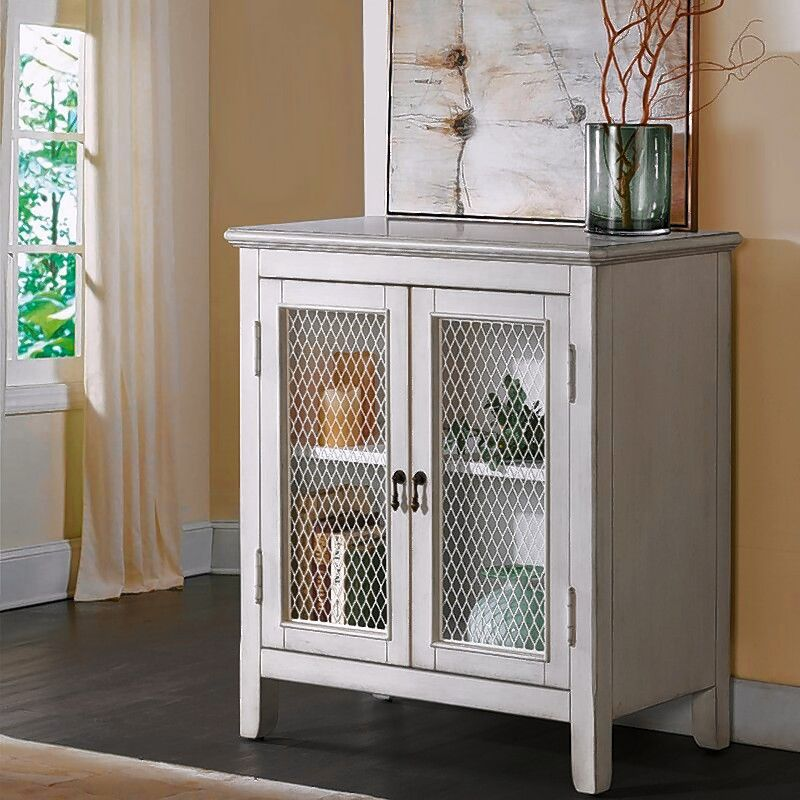 This Jovan accent cabinet with a mesh front is offered by wayfair.com. Mixing open cabinets, glass-front cabinets and mesh fronts is popular.