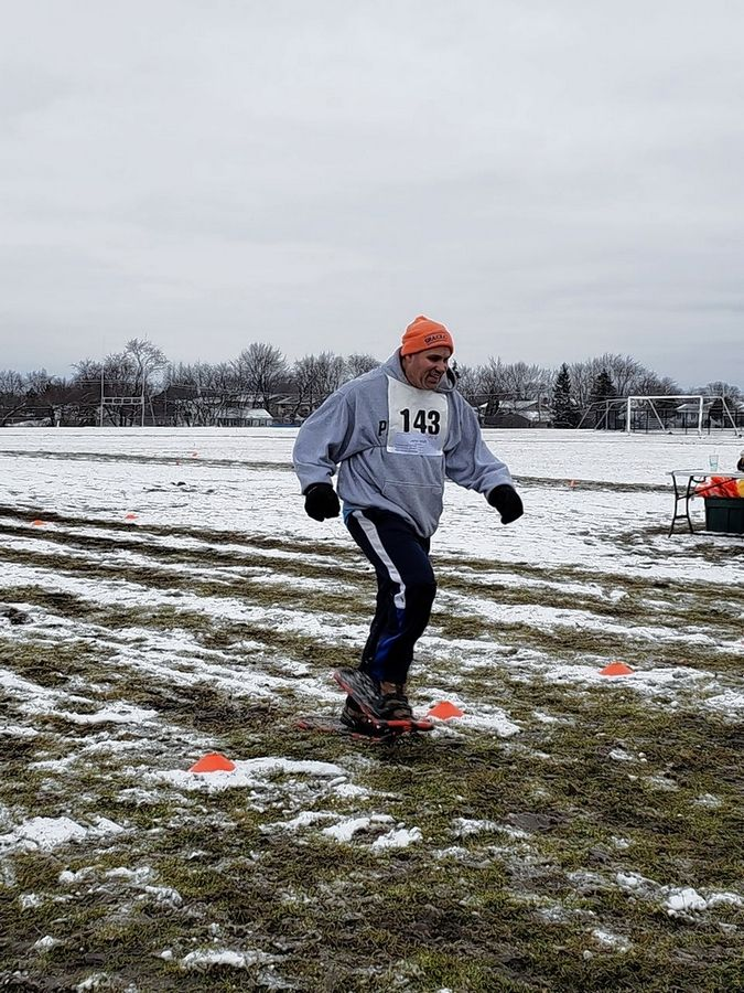 Chris Walti competes in the 100 meter at Hoffman Estates High School earlier this month. His team will send nine athletes to the Winter Games next month at Chestnut Mountain in Galena.