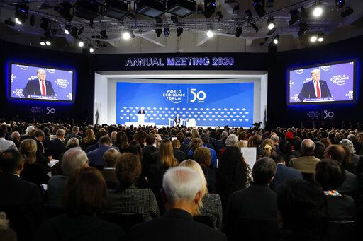 U.S. President Donald Trump addresses the World Economic Forum in Davos, Switzerland, Tuesday, Jan. 21, 2020. The 50th annual meeting of the forum will take place in Davos from Jan. 20 until Jan. 24, 2020.