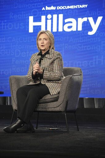 "Hillary Clinton participates in the Hulu ""Hillary"" panel during the Winter 2020 Television Critics Association Press Tour, on Friday, Jan. 17, 2020, in Pasadena, Calif. (Photo by Richard Shotwell/Invision/AP)"