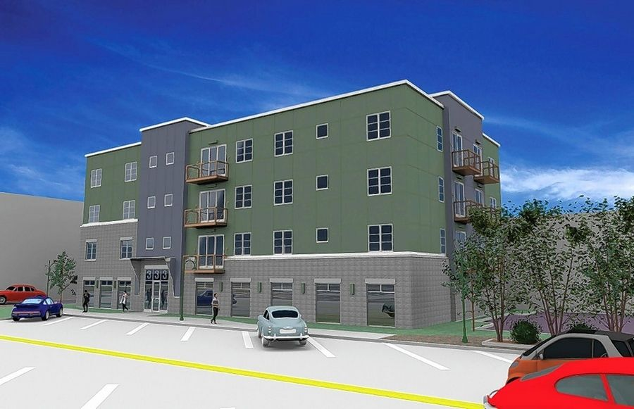R&B Development, LLC has proposed constructing a four-story residential building on a vacant grassy lot east of Blue Goose Market in downtown St. Charles.