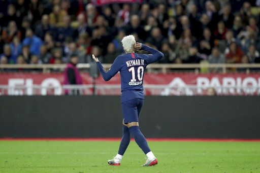 PSG's Neymar celebrates after scoring his side's second goal during the French League One soccer match between Monaco and Paris Saint-Germain at the Louis II stadium in Monaco, Wednesday, Jan. 15, 2019.