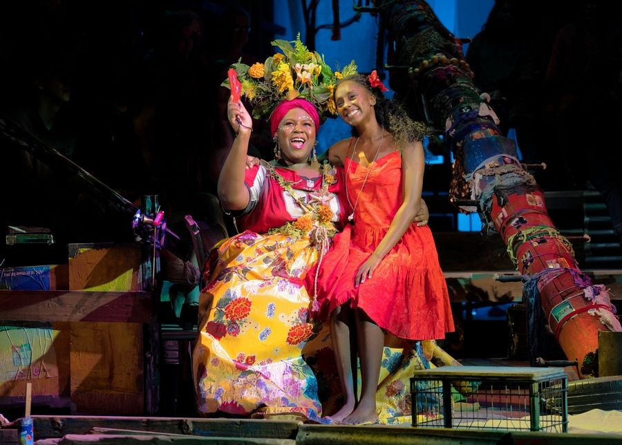 "Asaka (Kyle Ramar Freeman) gives advice to Ti Moune (Courtnee Carter) in the national tour of the musical ""Once On This Island."" The Tony Award-winning 2017 Broadway revival continues at Chicago's Cadillac Palace Theatre through Sunday, Feb. 2."