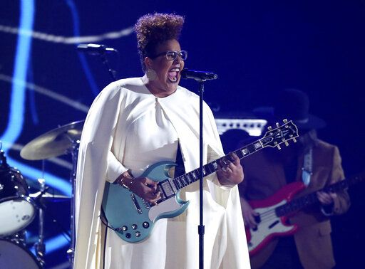 FILE - This Feb 15, 2016 file photo shows Brittany Howard of Alabama Shakes performing at the 58th annual Grammy Awards  in Los Angeles. Howard's solo album 'œJaime'� is up for two Grammy Awards at Sunday's ceremony. Her song 'œHistory Repeats'� competes for best rock performance and best rock song. (Photo by Matt Sayles/Invision/AP, File)