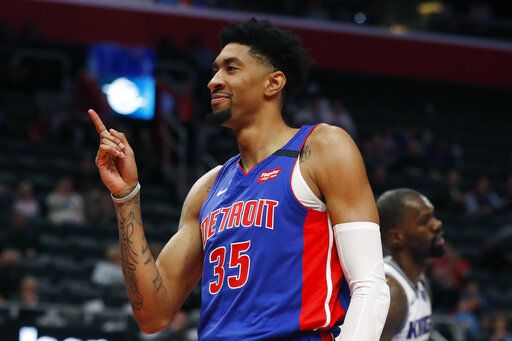 Detroit Pistons forward Christian Wood (35) reacts after a dunk during the first half of an NBA basketball game against the Sacramento Kings, Wednesday, Jan. 22, 2020, in Detroit.