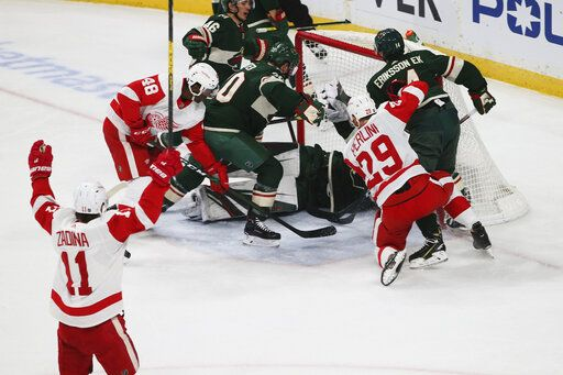 Detroit Red Wings' Filip Zadina, lower left, of Czech Republic, celebrates his power play goal off Minnesota Wild's Devan Dubnyk in the first period of an NHL hockey game Wednesday, Jan. 22, 2020, in St. Paul, Minn. It was Zadina's second goal of the period.