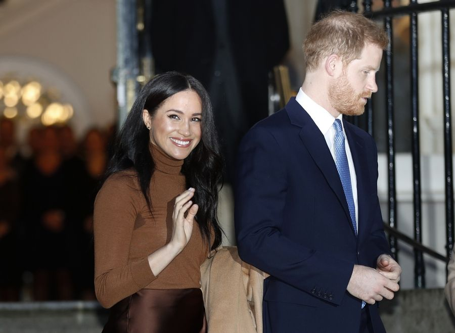 In this Jan. 7 file photo, Britain's Prince Harry and Meghan, the Duchess of Sussex, leave after visiting Canada House in London after their recent stay in Canada.