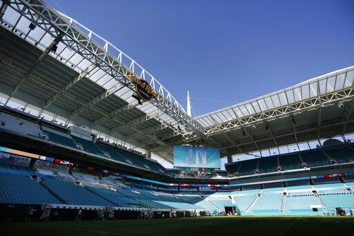 Preparations are underway during a tour of the Hard Rock Stadium on Tuesday, Jan. 21, 2020, ahead of the NFL Super Bowl LIV football game in Miami Gardens, Fla.