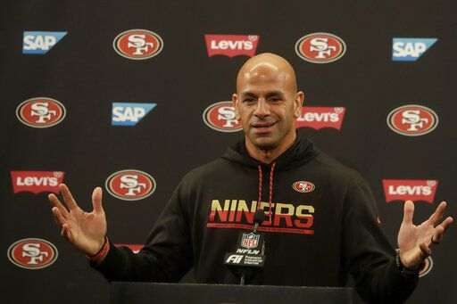 San Francisco 49ers defensive coordinator Robert Saleh speaks during a news conference at the team's NFL football training facility in Santa Clara, Calif., Thursday, Jan. 23, 2020. The 49ers will face the Kansas City Chiefs in Super Bowl 54.