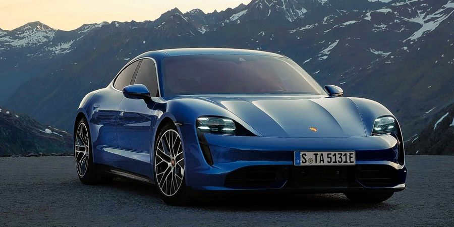 Porsche debuts its first electric car, the Taycan, at the Chicago Auto Show.