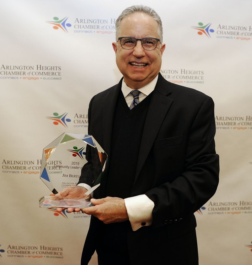 Jim Bertucci was named Community Leader of the Year on Friday evening at the Arlington Heights Chamber of Commerce's annual Awards & Recognition Gala in Palatine.