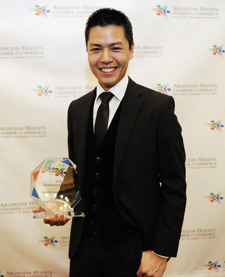 The Small Business of the Year winner was Imagineering Studios, represented by Director of Visual Production Timothy Kou, at the Arlington Heights Chamber of Commerce's annual Awards & Recognition Gala in Palatine on Friday.
