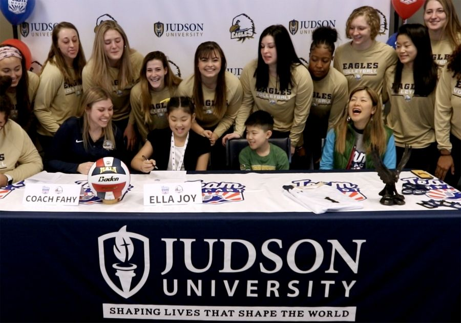 "Ten-year-old Ella Joy Won of South Elgin on Thursday signed an official letter of intent and joined the Judson University Eagles volleyball roster during a Team IMPACT ""Draft Day"" ceremony. The Boston-headquartered national nonprofit Team IMPACT, whose mission is to improve the quality of life for children facing serious and chronic illnesses through the power of a team, partnered with Judson University for the recognition ceremony at Lindner Fitness Center. Ella Joy has been treated for cancer."