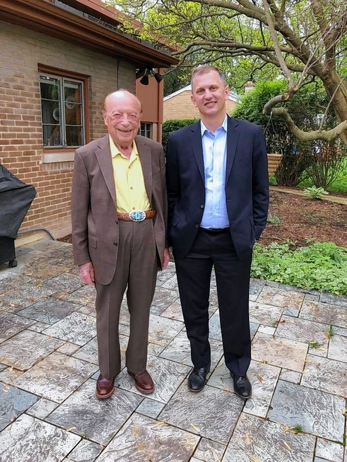 U.S. Rep. Sean Casten visits with Dieter Martin Gruen in May 2019. Gruen will be attending the State of the Union with Casten.